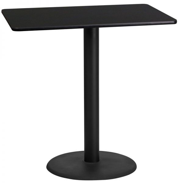 Flash Furniture 24'' x 42'' Rectangular Black Laminate Table Top with 24'' Round Bar Height Table Base