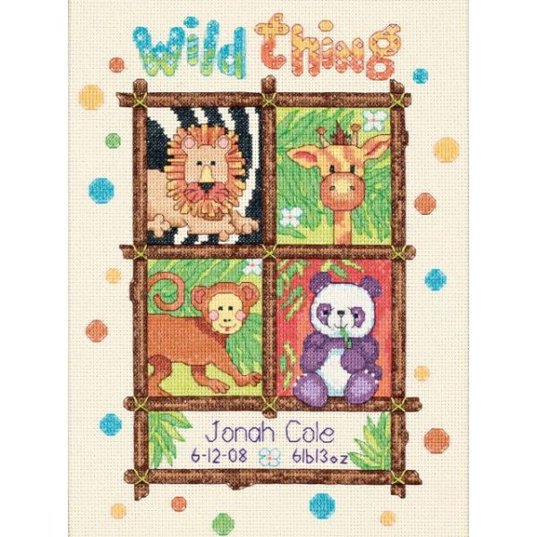 Baby Hugs Wild Thing Birth Record Counted Cross Stitch Kit