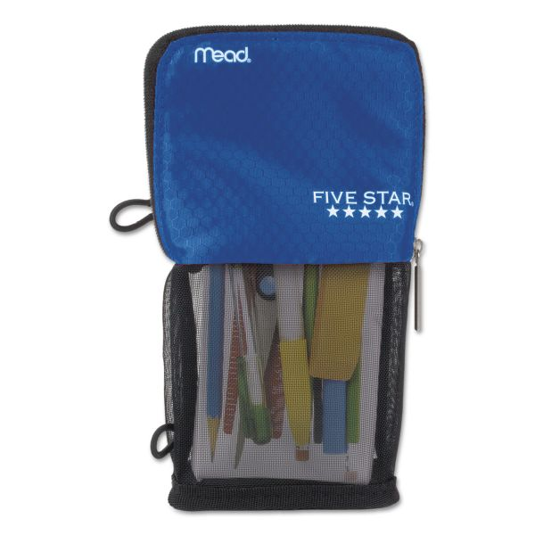 Five Star Stand 'N Store Pencil Pouch, 4 1/2 x 8, Cobalt