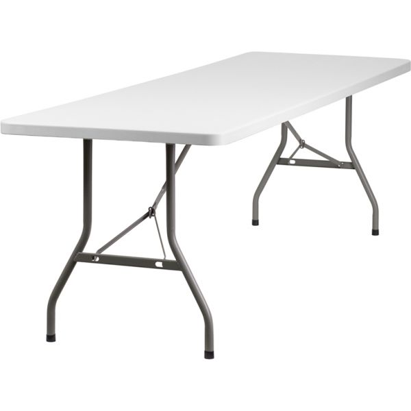 Flash Furniture 30''W x 96''L Granite White Plastic Folding Table