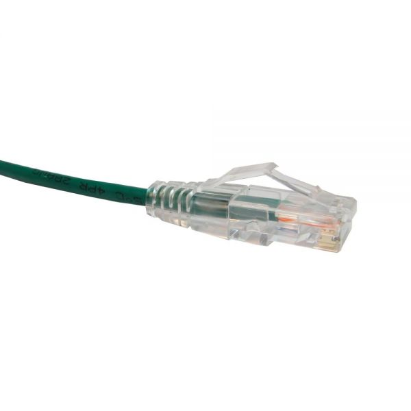 Unirise Clearfit Slim Cat6 Patch Cable, Snagless, Green, 9ft