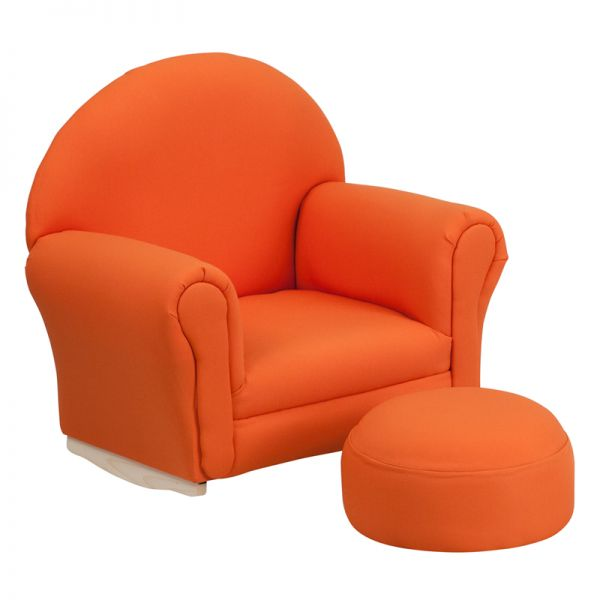 Flash Furniture Kids Orange Fabric Rocker Chair and Footrest