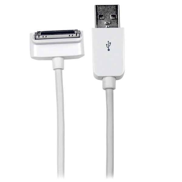 StarTech.com 2m (6 ft) Long Down Angle Apple? 30-pin Dock Connector to USB Cable for iPhone / iPod / iPad with Stepped Connector
