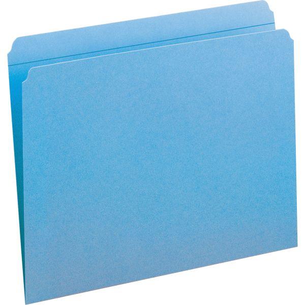 Smead File Folders, Straight Cut, Reinforced Top Tab, Letter, Blue, 100/Box