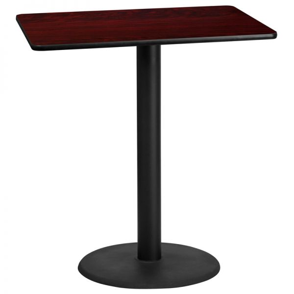 Flash Furniture 30'' x 42'' Rectangular Mahogany Laminate Table Top with 24'' Round Bar Height Table Base