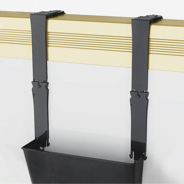 deflecto Break-Resistant Plastic Partition Brackets w/Extension, 1 3/4 x 3, Black, 2/Set