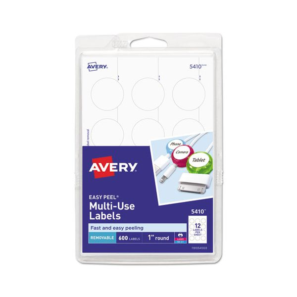 """Avery Removable Multi-Use Labels, 1"""" dia, White, 600/Pack"""