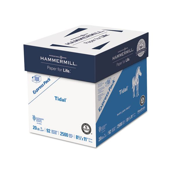 Hammermill Tidal MP Paper Express Pack, 92 Brightness, 20 lb, 8 1/2 x 11, White, 2500 Sheets/Carton