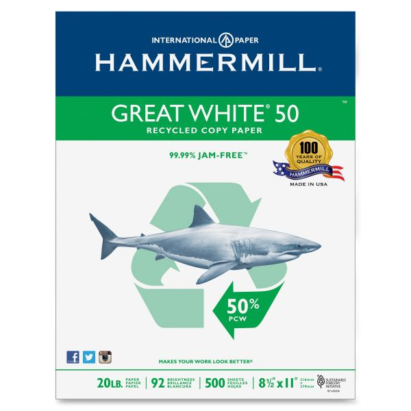 Hammermill Great White 50 Recycled White Copy Paper
