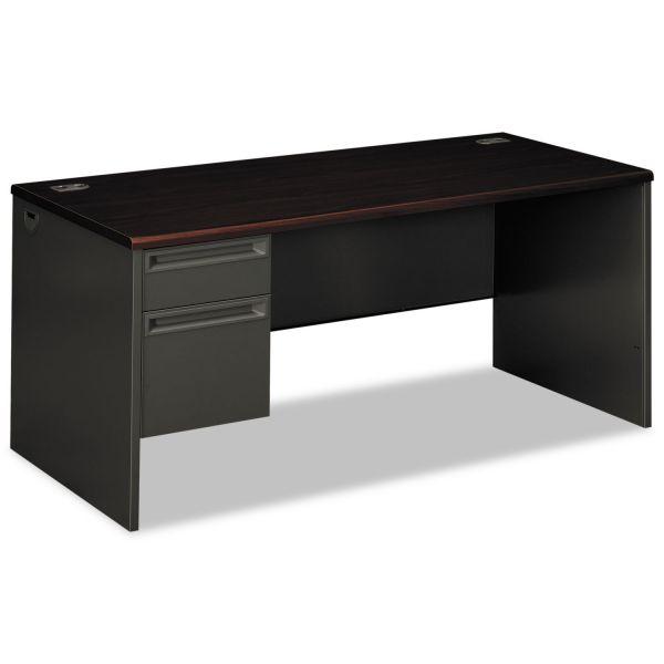 HON 38000 Series Left Pedestal Desk, 66w x 30d x 29-1/2h, Mahogany/Charcoal