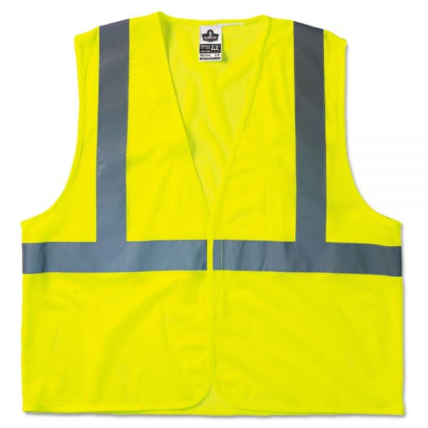 ergodyne GloWear 8210HL Class 2 Economy Vest, Polyester Mesh, Hook Closure, Lime, L/XL