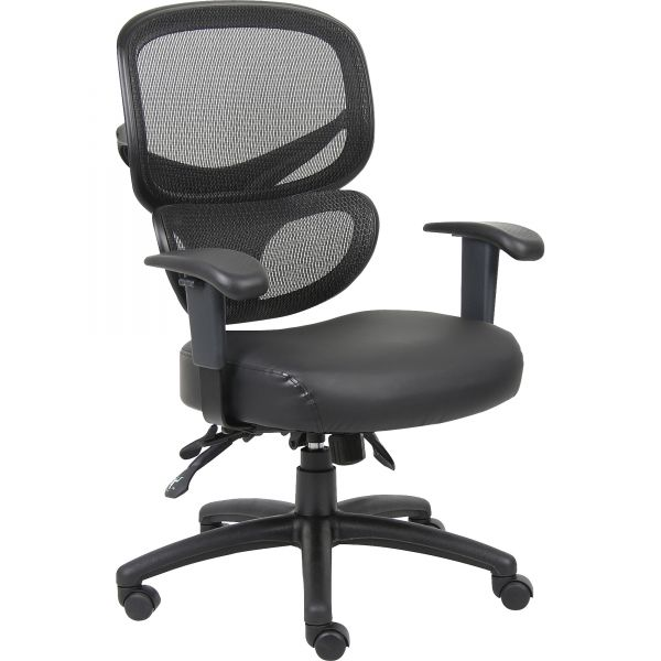 Lorell Mesh-Back Leather Executive Chair