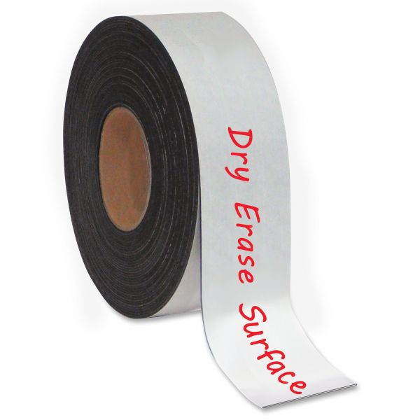 """MasterVision Dry Erase Magnetic Tape Roll, White, 1"""" x 50 Ft."""