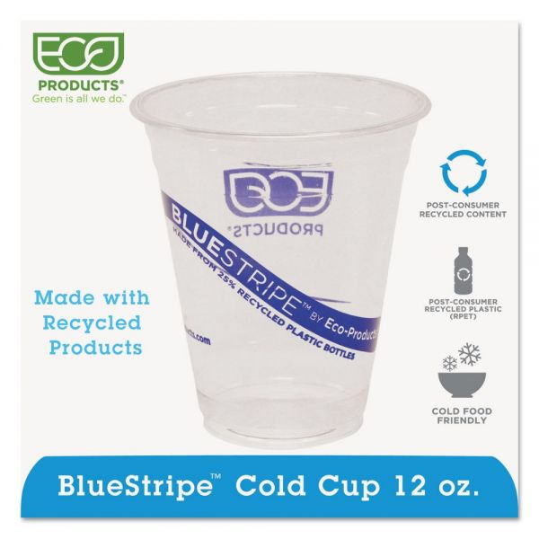 Eco-Products BlueStripe 12 oz Plastic Cups