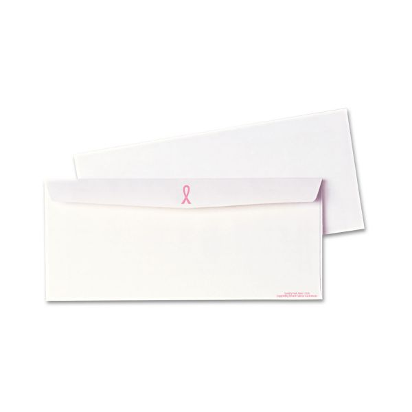 Quality Park Breast Cancer Awareness Envelope, #10, 4 1/8 x 9 1/2, White/Pink Ribbon, 500/Box