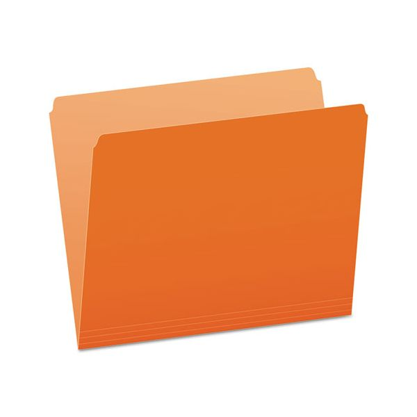 Pendaflex Colored File Folders, Straight Top Tab, Letter, Orange/Light Orange, 100/Box