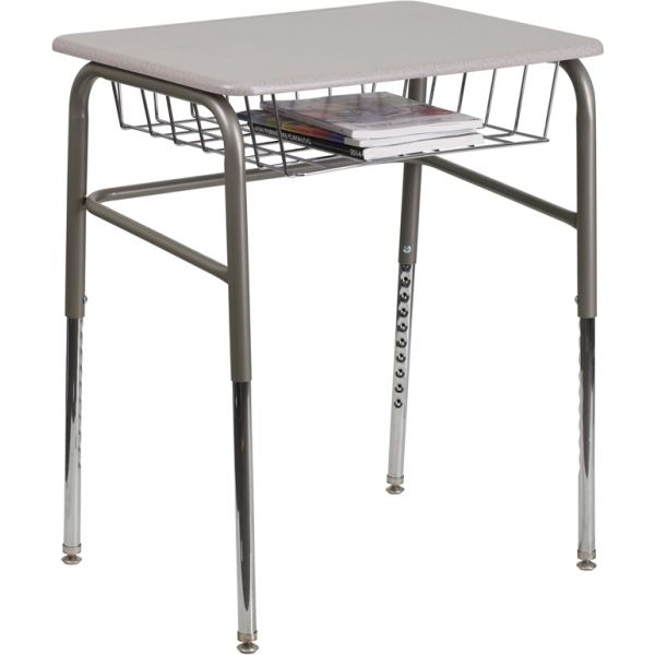 Flash Furniture Student Desk with Grey Nebula Plastic Top, Adjustable Legs and Open Front Book Basket