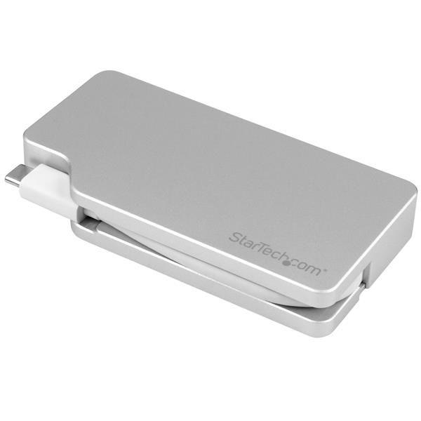 StarTech.com Aluminum Travel A/V Adapter: 4-in-1 USB-C to VGA, DVI, HDMI or Mini DisplayPort - USB Type-C Adapter - 4K