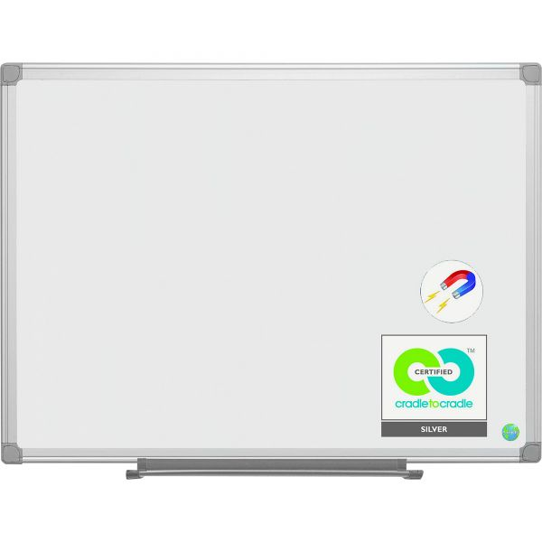 """MasterVision 72"""" x 48"""" Earth Platinum Pure White Magnetic Painted Steel Dry Erase Whiteboard"""
