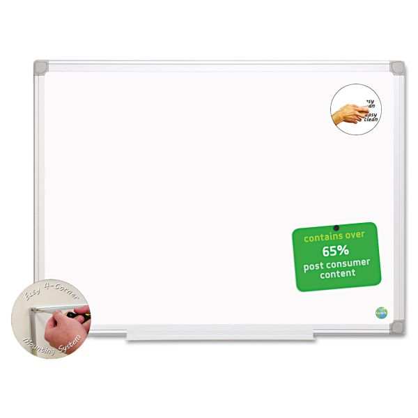 MasterVision Earth Easy-Clean Dry Erase Board, White/Silver, 24x36