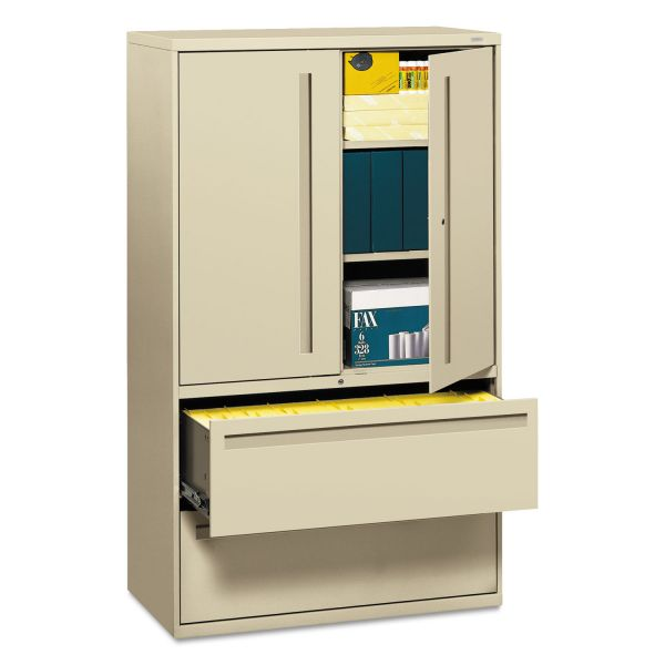 HON 700 Series Lateral File w/Storage Cabinet, 42w x 19-1/4d, Putty