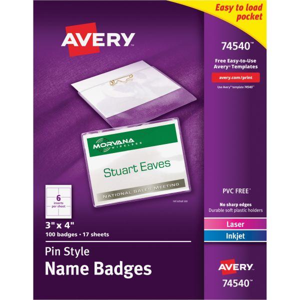 Avery Laser/Inkjet Pin Style Name Badge Kits