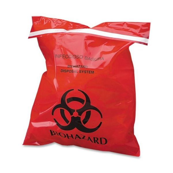 CareTek Stick-On Biohzrd Infectious Red Waste Bags