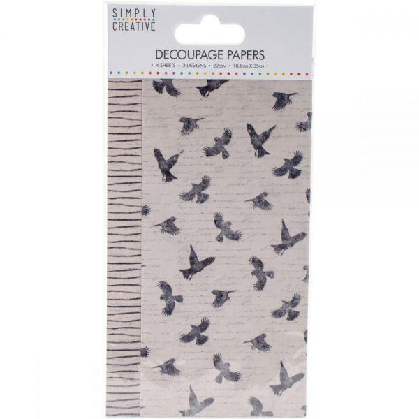 Simply Creative Decoupage Paper 18.8cm X 35cm 4/Pkg