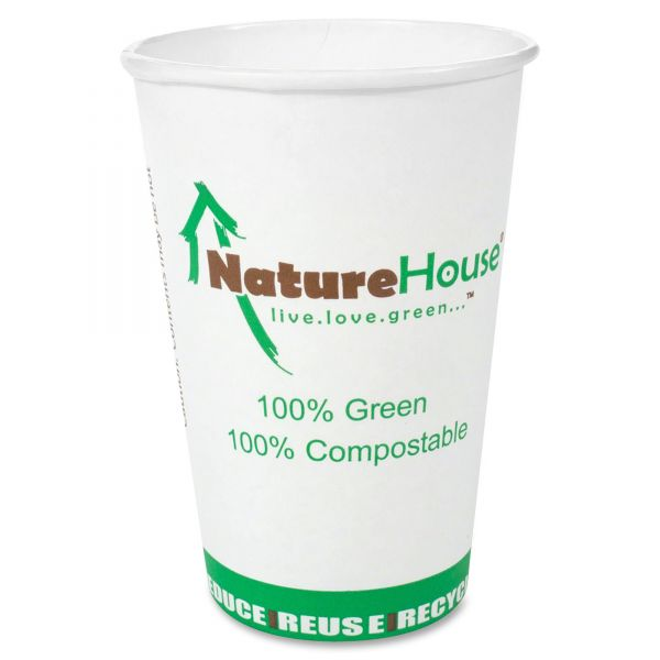NatureHouse Compostable 12 oz Paper Coffee Cups