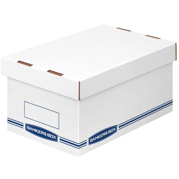 Bankers Box Organizer Storage Boxes, Medium, White/Blue, 12/Carton