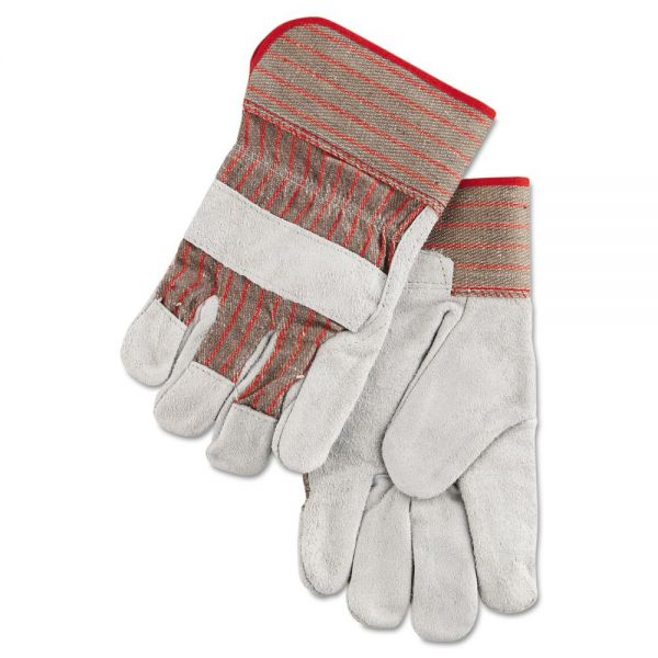 MCR Safety Economy Grade Leather Gloves, White/Red, Large, 12 Pairs