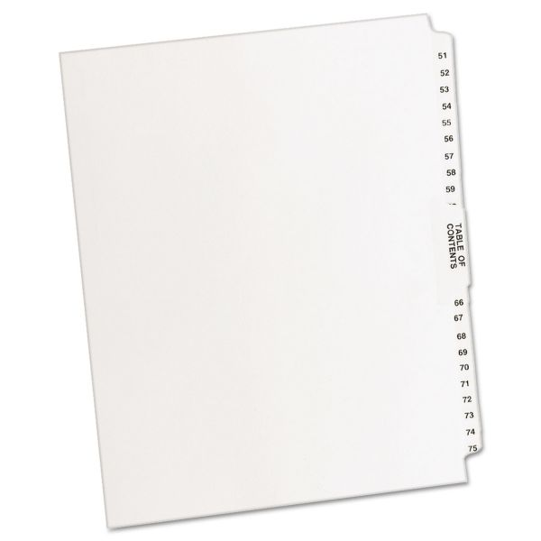 Avery-Style Legal Exhibit Side Tab Divider, Title: 51-75, Letter, White