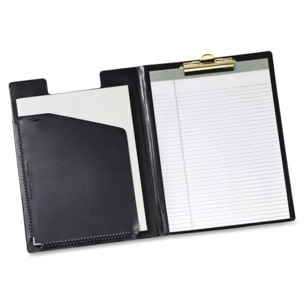 Cardinal Pad Holder, Leather-Like Vinyl, Brass-Finish Clip, Expanding Pocket File, Black