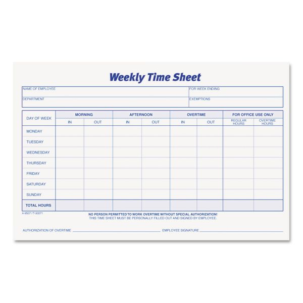 TOPS Weekly Time Sheets, 5 1/2 x 8 1/2, 50/Pad, 2/Pack