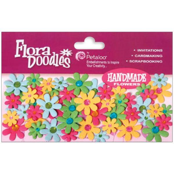 """Flora Doodles Jeweled Paper Florettes .625"""" To 1"""" 80/Pkg"""