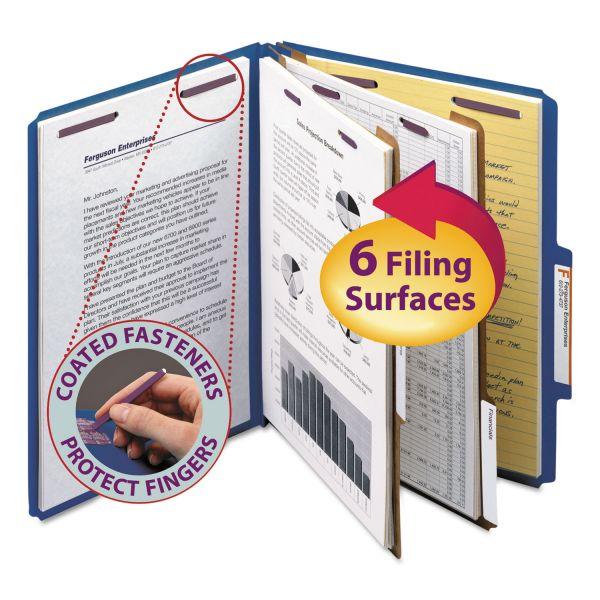 Smead Pressboard Classification Folders, Letter, Six-Section, Dark Blue, 10/Box