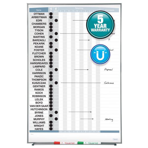Quartet Vertical Matrix Employee Tracking Board, 34 x 23, Aluminum Frame