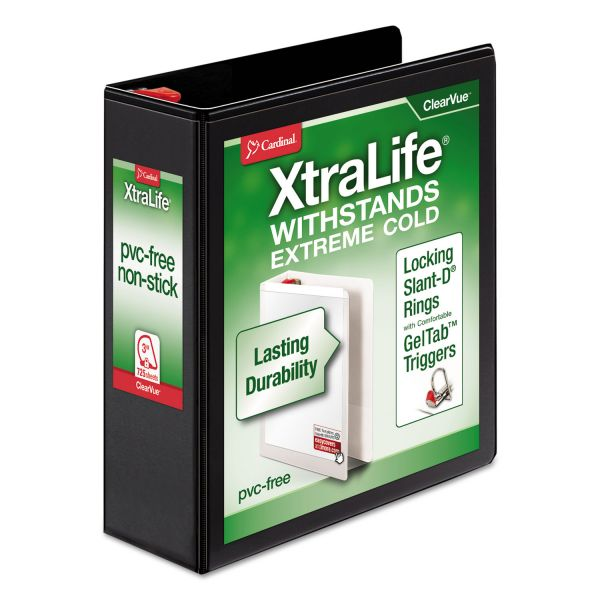 "Cardinal XtraLife ClearVue Non-Stick Locking 3-Ring View Binder, 3"" Capacity, Slant-D Ring, Black"