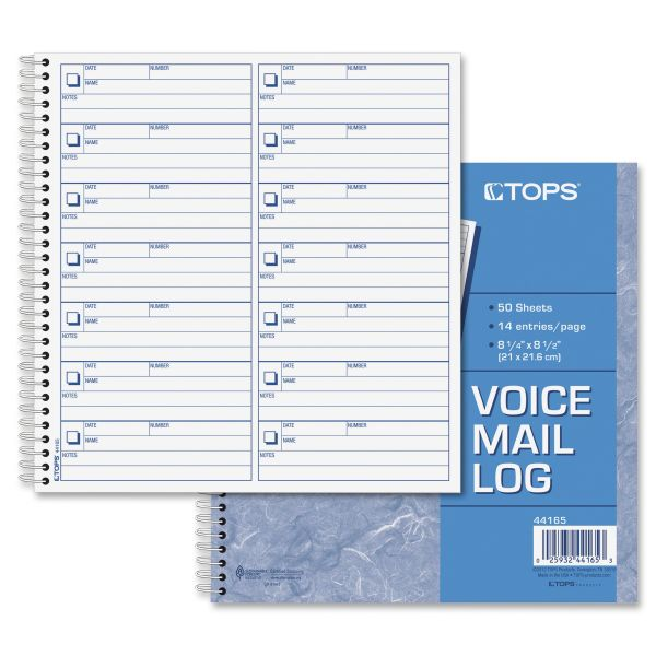 TOPS Voice Message Log/Date/Name/Number, 8-1/2 X 8-1/4, 1400-Message Book