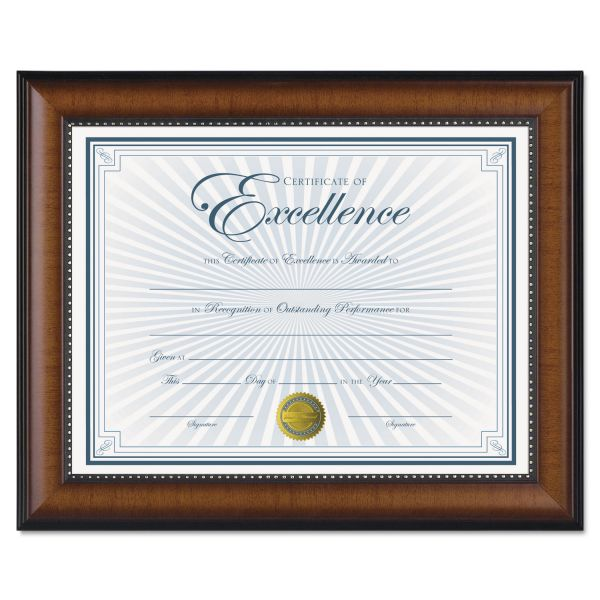 DAX Prestige Document Frame, Walnut/Black, Gold Accents, Certificate, 8 1/2 x 11