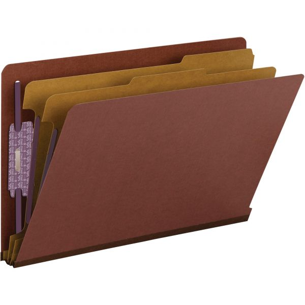 Smead End Tab Pressboard Classification Folders with SafeSHIELD Fasteners