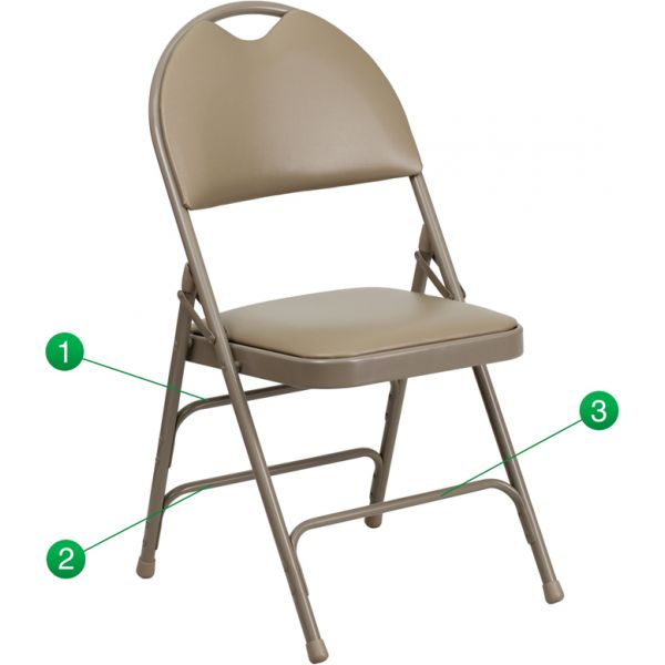 Flash Furniture HERCULES Series Extra Large Ultra-Premium Triple Braced Beige Vinyl Metal Folding Chair with Easy-Carry Handle