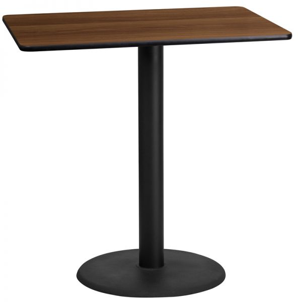 Flash Furniture 24'' x 42'' Rectangular Walnut Laminate Table Top with 24'' Round Bar Height Table Base