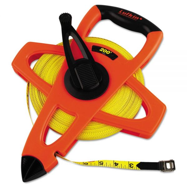 "Lufkin Engineer Hi-Viz Fiberglass Measuring Tape, 1/2""x200ft, Yellow Blade, Orange Case"