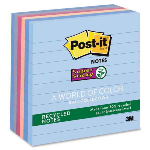Post-it Ruled/Lined Super Sticky Recycled Notes