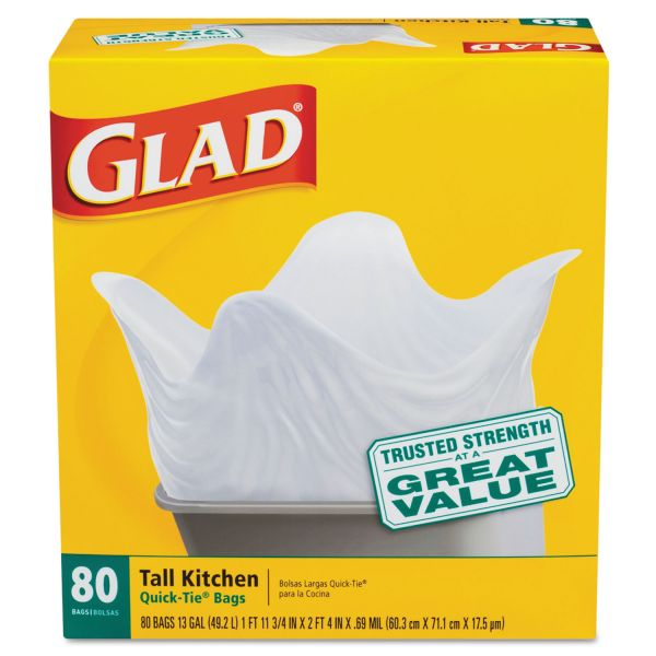 Glad Tall Kitchen Quick-Tie 13 Gallon Trash Bags