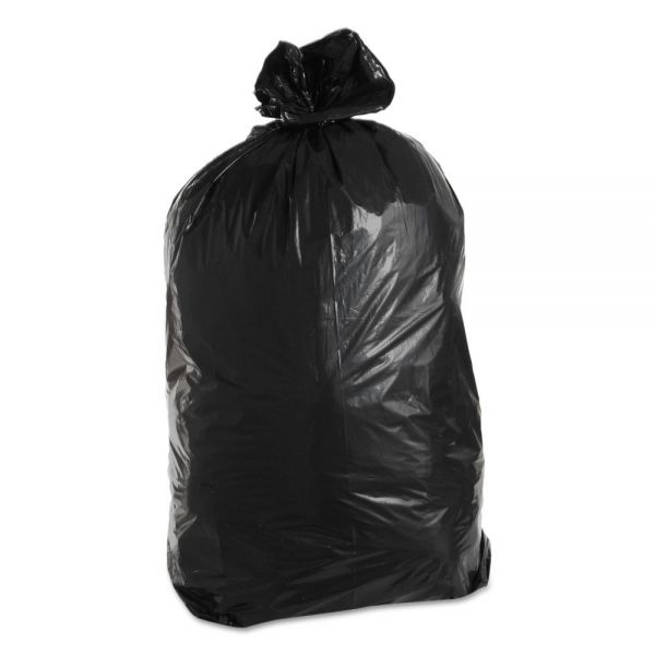 Trinity Packaging Low-Density Can Liners, 60gal, 1.7 mil, 22w x 14d x 58h, Black, 100/Carton