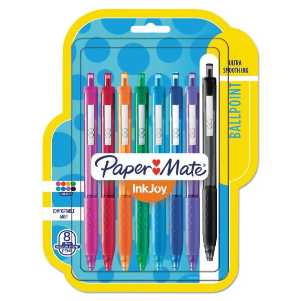 Paper Mate InkJoy 300 RT Retractable Ballpoint Pen, 1mm, Assorted, 8/Pack
