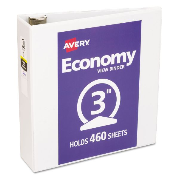 "Avery Economy 3-Ring View Binder, 3"" Capacity, Round Ring, White"