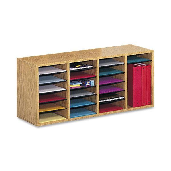 Safco Mayline Wood/Laminate Sorter, 24 Sections, 39 1/4 x 11 3/4 x 16 1/4, Medium Oak